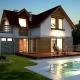 032L Avis, projekty domów, nocna wizualizacja
