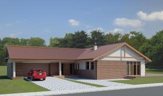 036 Signum, projekty domów, dom parterowy, garaż dwustanowiskowy