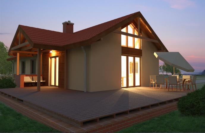 Projekty domów, 031 Meus, dom jednorodzinny, wysokie okno