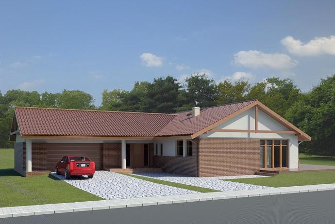 038 Signum II, projekty domów, dom parterowy, garaż dwustanowiskowy