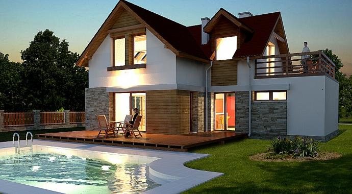 Projekt domów, 032 Avis, nocna wizualizacja, projekt domu z tarasem