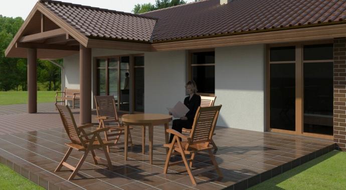 036 Signum, widok od ogrodu, projekty domów