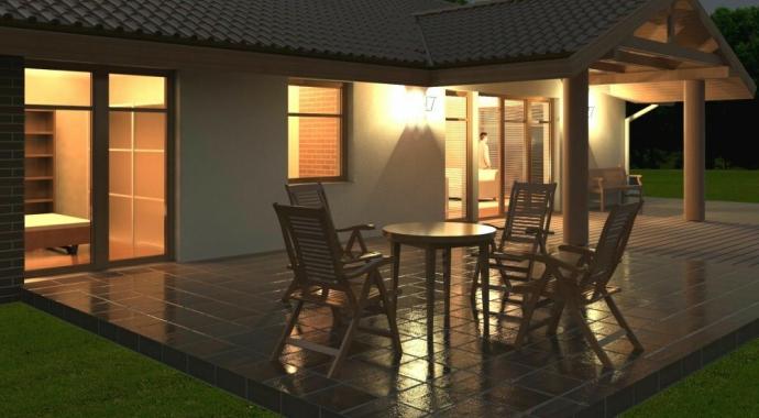 036L Signum, Projekty domów, wizualizacja nocna,