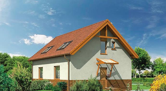 b02 czyżyk, bliźniak, dom letniskowy, widok od boku, projekty domów