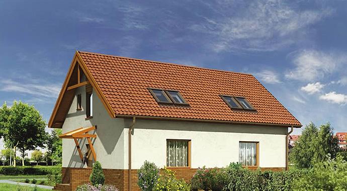b02 czyżyk, bliźniak, dom letniskowy, widok od ogrodu, projekt domu