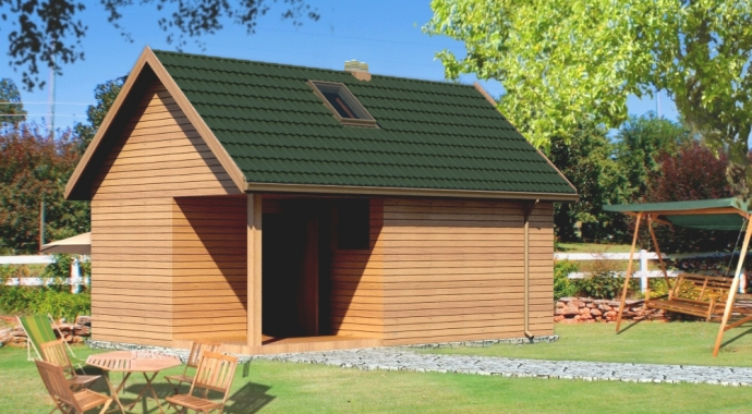 GR10L -budynek gospodarczy z sauną -tył