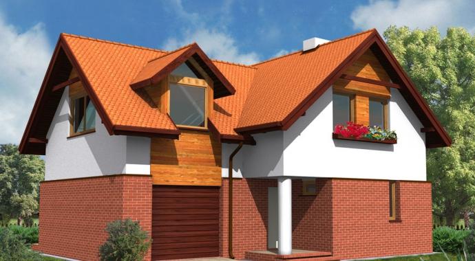 wm02l, dom jednorodzinny, projekt domu, klinkier, piwnica