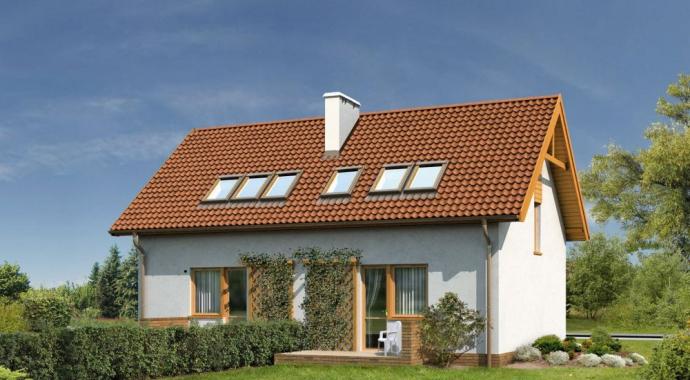 B01a Sówka, projekt domu z dwoma lokalami, widok od ogrodu