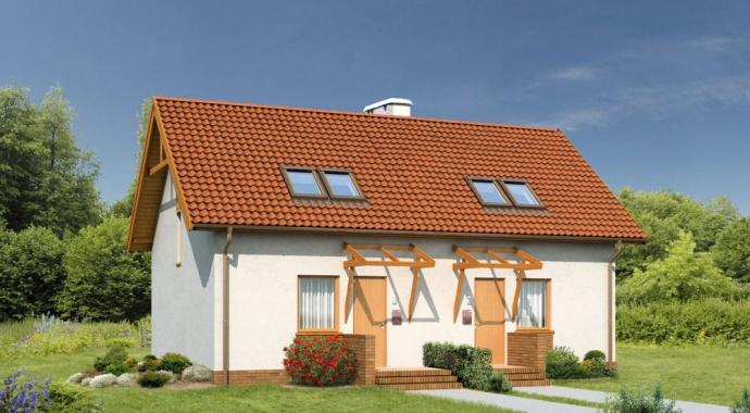B01a Sówka, dom dwupokoleniowy, jednorodzinny, z dwoma mieszkaniami, front